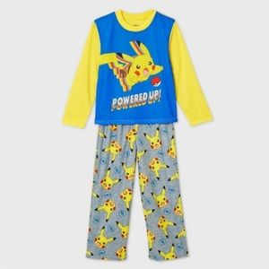 Pokemon Boys Blue Yellow Pikachu 2Pc Pajama Set